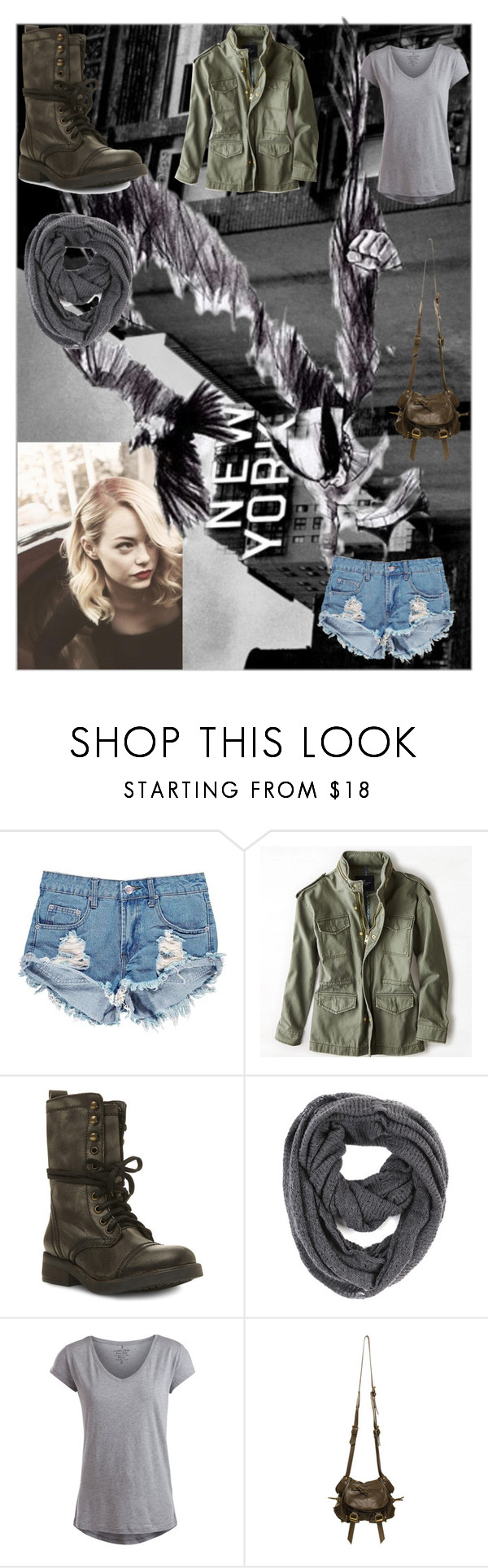 """""""Emma Stone Style: Birdman"""" by thinkinsidethebox ❤ liked on Polyvore featuring Boohoo, American Eagle Outfitters, Steve Madden, Paula Bianco, Pieces and Jérôme Dreyfuss"""