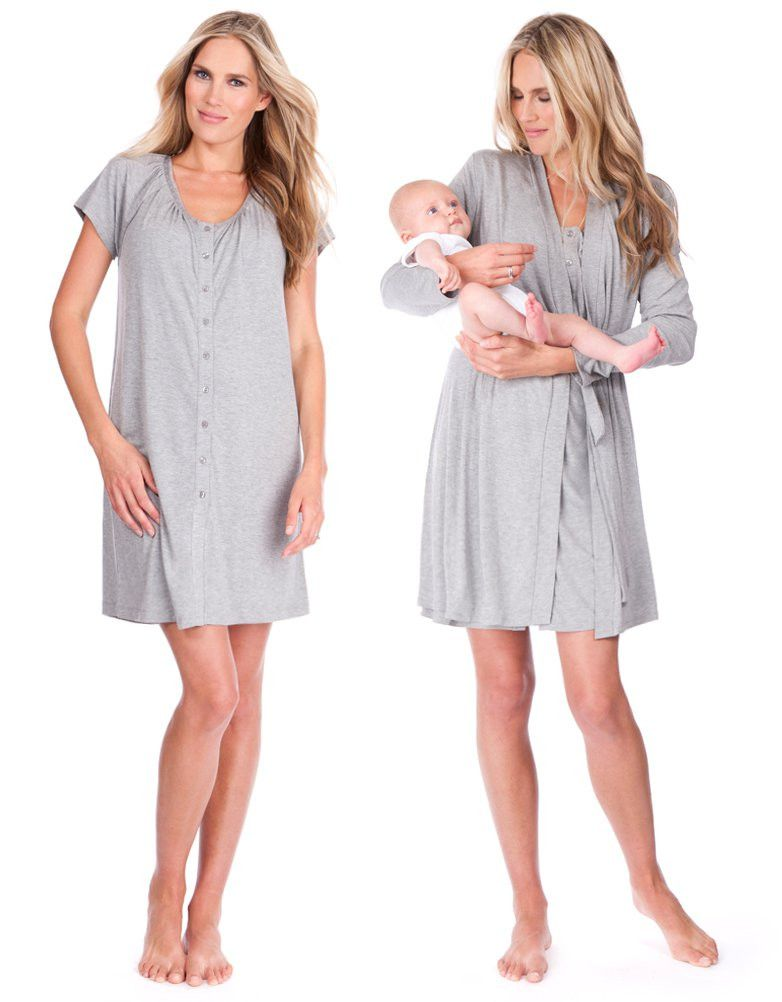 bdb89fd8e633 Button down maternity nightie Soft maternity dressing gown Cotton maternity  sleep bra A hospital bag essential Our sweet dreams essentials
