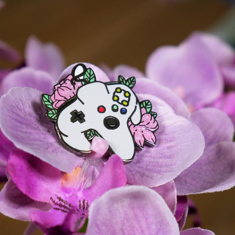Floral Nintendo Pins made by Kelsey Yurkow -