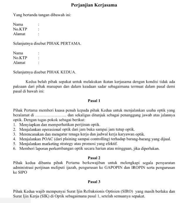 Contoh Surat Perjanjian Kerjasama Pengusaha Dengan Refraksionis - resume extracurricular activities