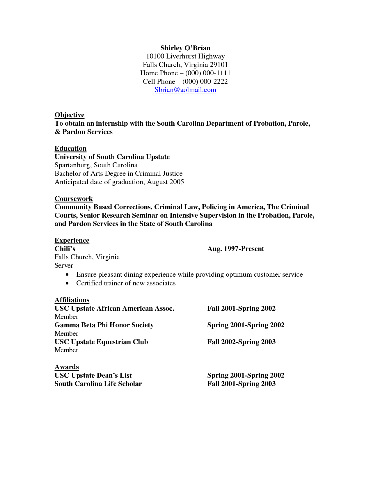 Internship Resume Template Objective Resume Criminal Justice  Httpwwwresumecareer