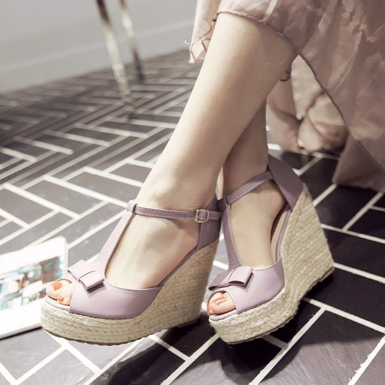 Womens Wedge High Heels Pumps Sandals Ankle Strap Platform Open Toe Bowtie Shoes