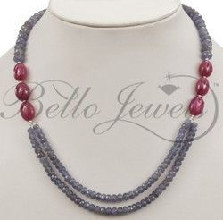 """Handmade 8-12mm Gemstone Beaded Fashion Long Necklace For Women 19""""Free Shipping"""