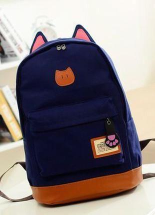Рюкзак портфель с ушками кот школьный котик | Брезентовый ...