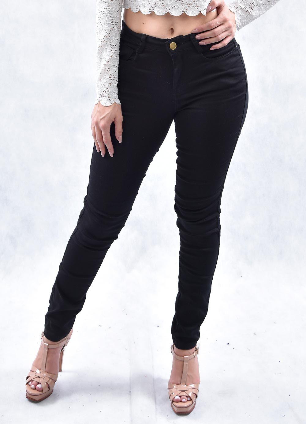01f39080a Calça Feminina Jeans Consciência Jeans Inter Básica Preta