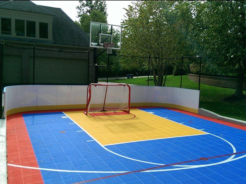 Roller Sports Basketball court backyard, Backyard