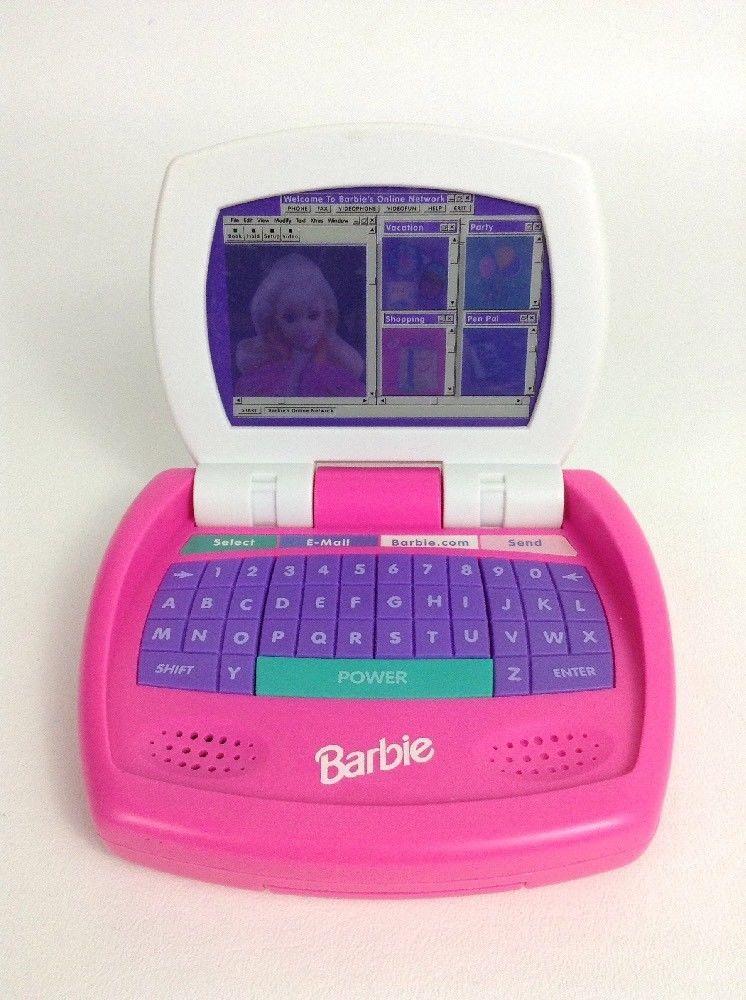 Vintage 1998 Barbie Kiddesigns Mini Talking Online Laptop Toy W