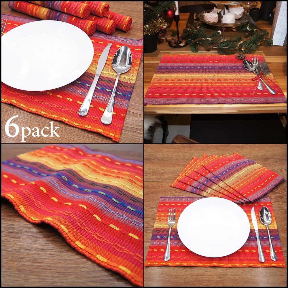 Colorful Placemats Woven Braided Ribbed Cotton Table Decor Washable For Kitchen Ivenf Placemats Kids Rugs Woven