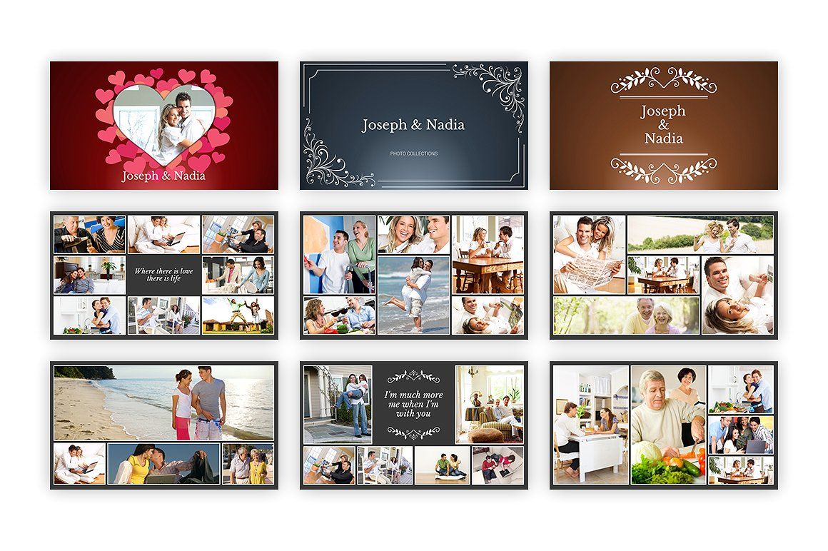 Kolase Powerpoint Template Wedding Photo Album Layout Photo Collage Template Powerpoint Templates