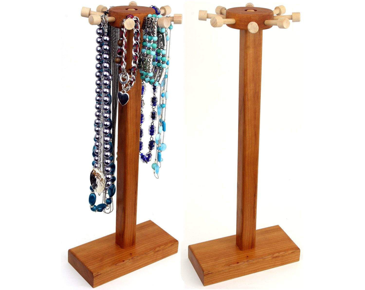 Necklace Holder Stand Jewelry Display Cherry Spinning Wood