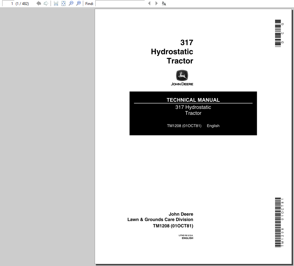 John Deere 317 Hydrostatic Tractor Technical Manual TM-1208 Language:  English Format: PDF No of Pages: 482 See pictures for the table of content.
