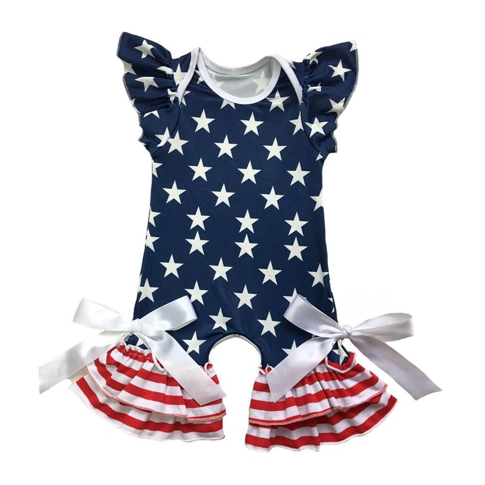 US Flag Stars Strips 4th of July Romper Clothes Outfits for Toddler Baby Girls