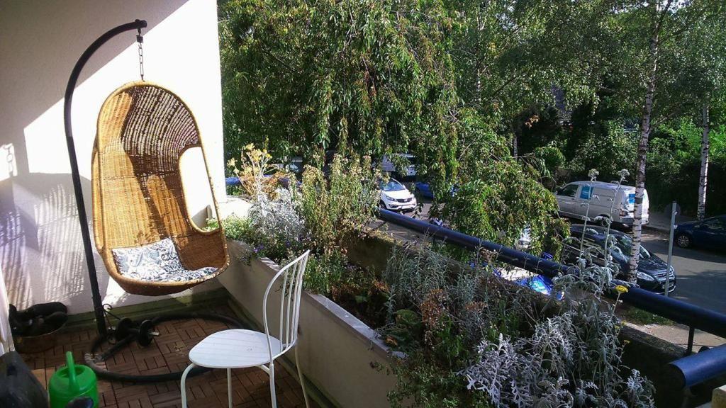 Hängesessel Für Die Entspannde Zeit Unter Der Sonne Auf Dem Balkon