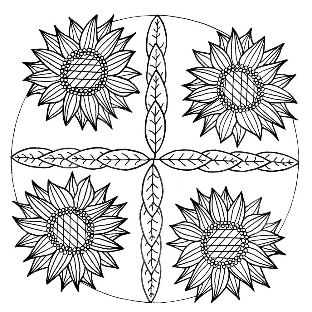 Mandala Inspired Sunflower Adult Coloring Page Sunflower