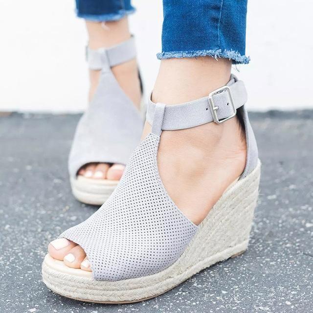 3af4185db5fd COSIDRAM Summer Women Sandals Wedge Peep Toe Shoes High Heels Beach Ladies  Shoes Fashion Platform Rome Plus Size 42 43 SNE-095