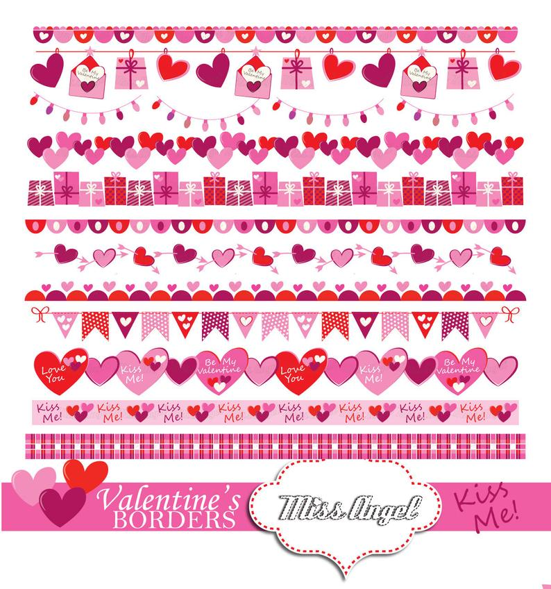 Valentine's bunting banner, 12 romantic printable borders ...