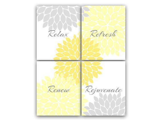 Bathroom Wall Art, Relax Refresh Renew Rejuvenate, Yellow & Gray ...