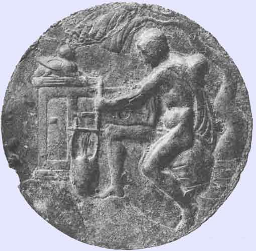 Hermes making the lyre. Bronze relief in the British Museum ...