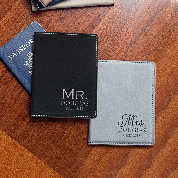 efae0e22d Personalized Mr. and Mrs. Passport Cover Set  Custom Engraved Mr. Mrs. Passport  Cover Set