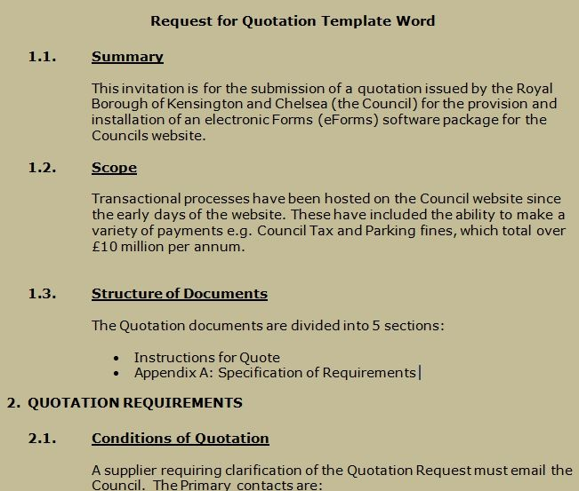 Get Request For Quotation Template Word  Projectemplates  Excel
