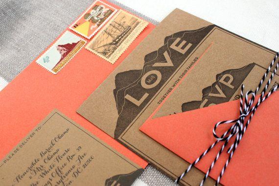 LOVE Letterpress Wedding Invitations SAMPLE by MinkLetterpress ...