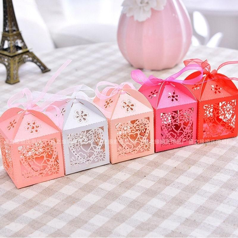 50pcs Love Heart Laser Cut Candy Box Gift Bo Ribbon Wedding Party Favor