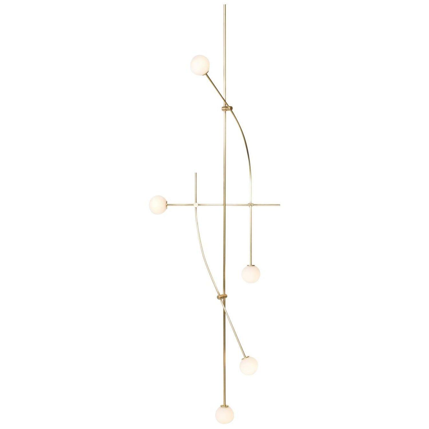 U tall tempo chandelier in satin brass with handblown glass globes