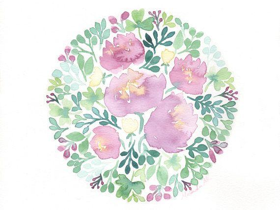 Watercolour Circle Of Pink Flowers Original Painting