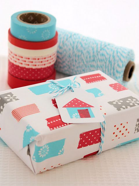 wrapping paper, put pieces of washi tape on paper, scanned it in and then printed off... Could be done with any paper that you've designed. Very cute unique wrapping paper for small gifts