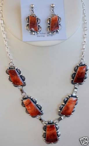 Navajo Spiny Oyster Necklace Earrings Set by M Spencer