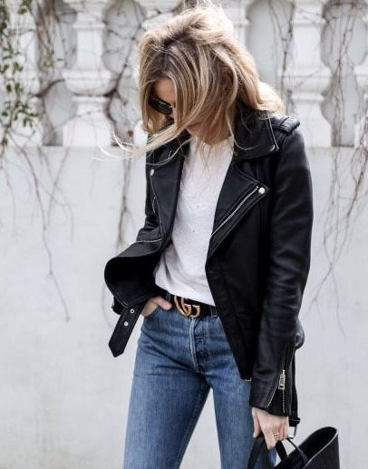 56e98afd277 gucci belt leather jacket black and white jeans ootd outfit inspiration  fashion
