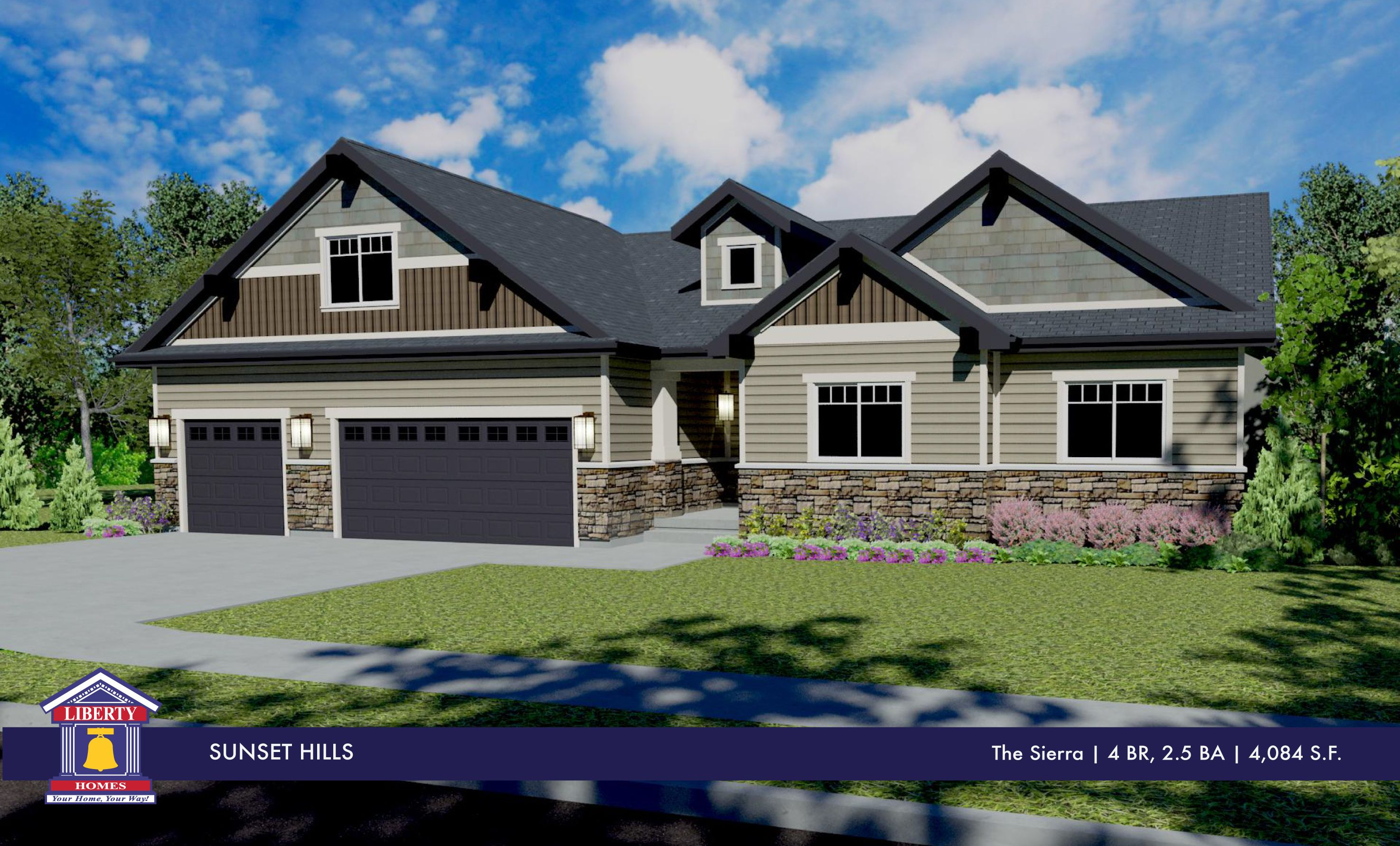 Liberty homes sierra floor plan rambler home 3 car for Utah house plans with bonus room