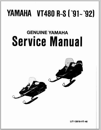 1991-1992 Yamaha VT480 R~S Snowmoblile Workshop Service
