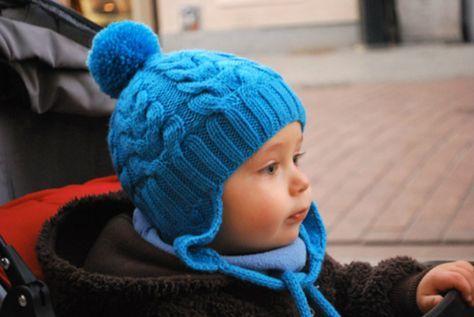 шапочка с ушками спицами для мальчика 2-4 года | Детские ...