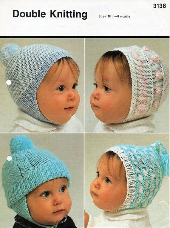 Baby Knitting Pattern For Girls And Boys Hats Size Birth To 8 Months