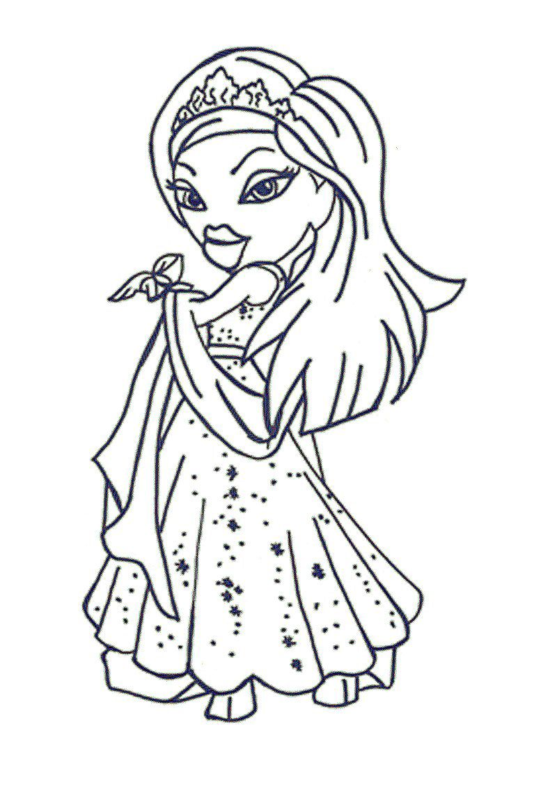 bratz and princesses coloring pages - photo#9