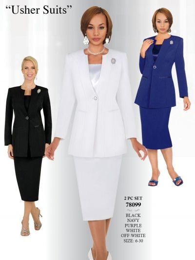 a7babbeca35e30 Ben Marc 78099 Stacy Adams Womens Church Usher Suit- Two piece women's  usher church suit features a 25 inch jacket and a 30 inch skirt.