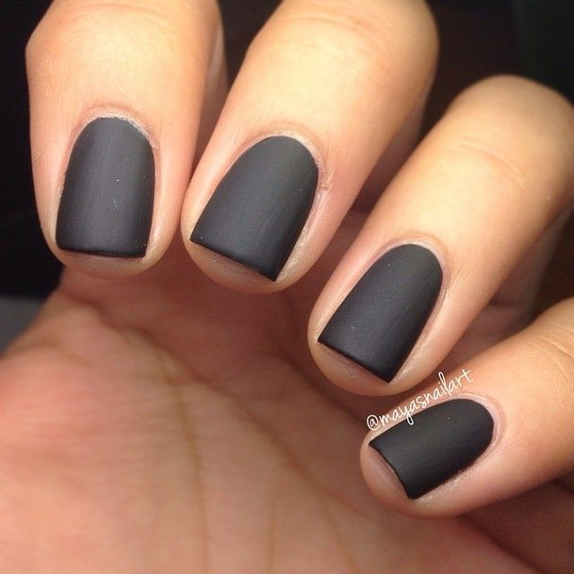 Matte black everythaang mani in the making but just had to post how ...