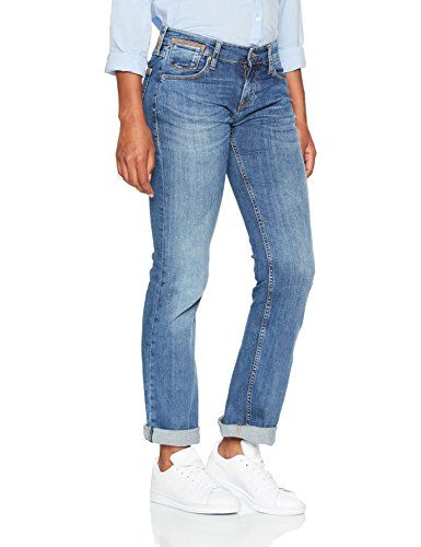 nice MUSTANG Damen Straight Jeans Girls Oregon, Blau (Medium Blech 313), W30