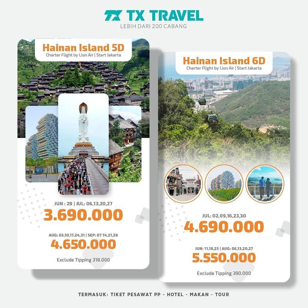 Hainan Islandcharter Flight By Lion Air5d And 6dkeberangkatan Juni Augusttermasuk Tiket Pesawat Pp Makan Hotel T Holiday Travel Instagram Posts Instagram
