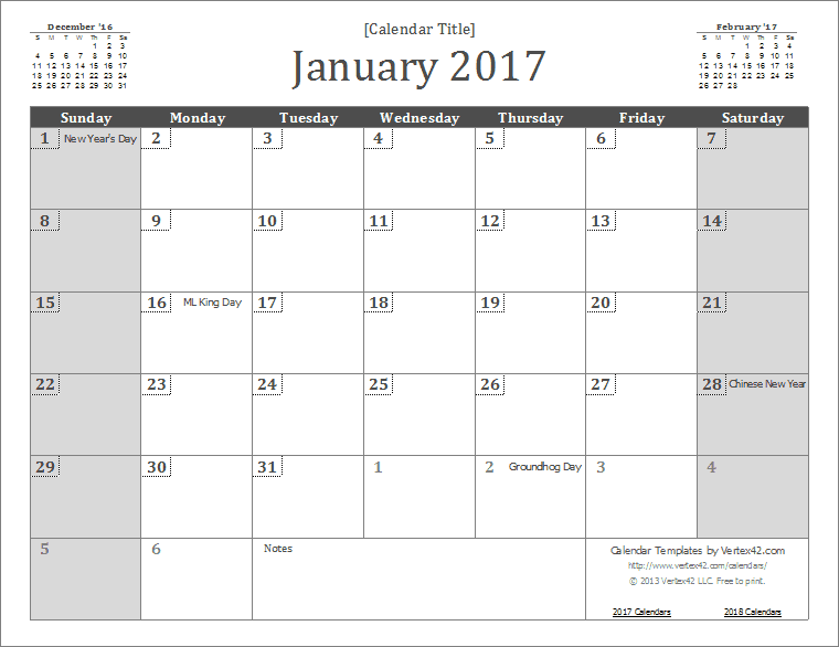 Printable  Wall Calendar Template By VertexCom  Calendars