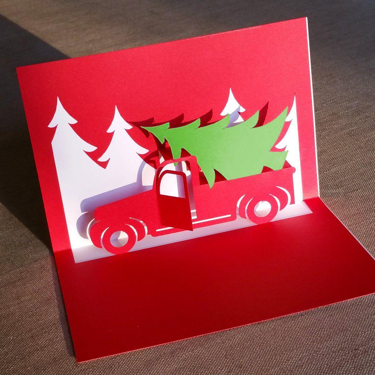 Christmas Truck Pop Up Card Template Pop Up Christmas Cards Diy Pop Up Cards Pop Up Card Templates
