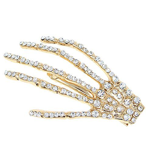 Gold Finish Rhinestone Skeleton Hand Hair Clip Clear [pc] ** To view further for this item, visit the image link.