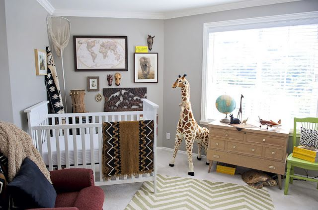 Modern Safari Nursery With African Artifacts And Lots Of