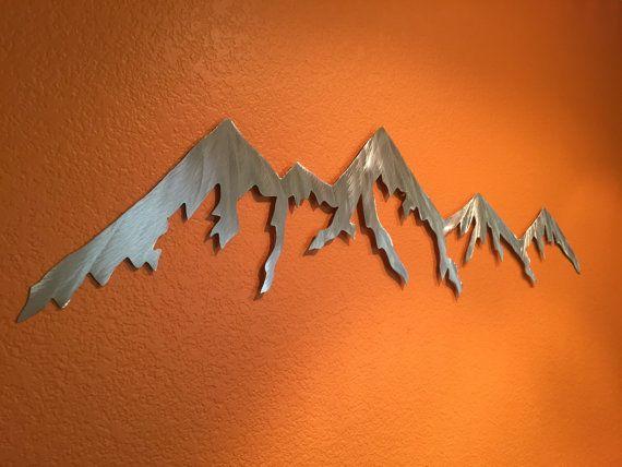 Mountain Wall Art Hand Cut Metal Handmade Home Decor Mountains Aluminum Man Cave Farmhouse Cabin Living Room Den Artwork Holiday Gift Idea