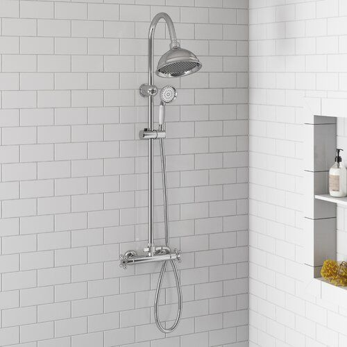 Marianna Thermostatic Shower With Dual Shower Head Belfry Bathroom Shower Valve Shower Heads Dual Shower Heads