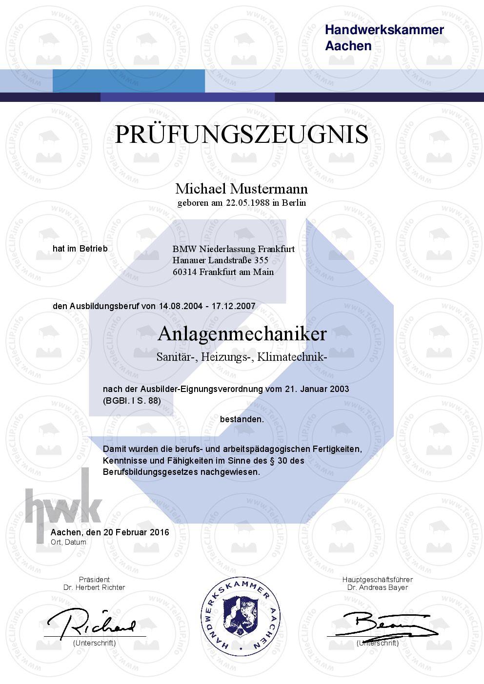 Professionelle HWK Prüfungszeugnisse – Individuelle Urkunden & Doku ...