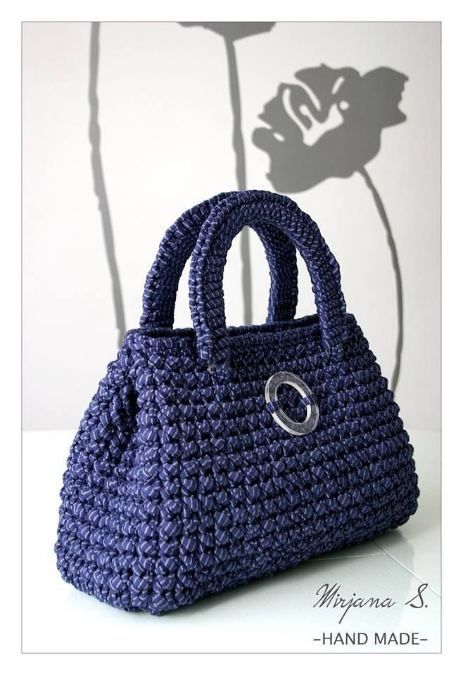 A free pattern of this bag made with T-shirt yarn is available as a ...