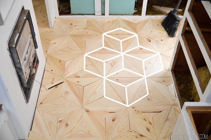 DIY Geometric Wood Floor Cubes vintagerevivals.com-28 copy