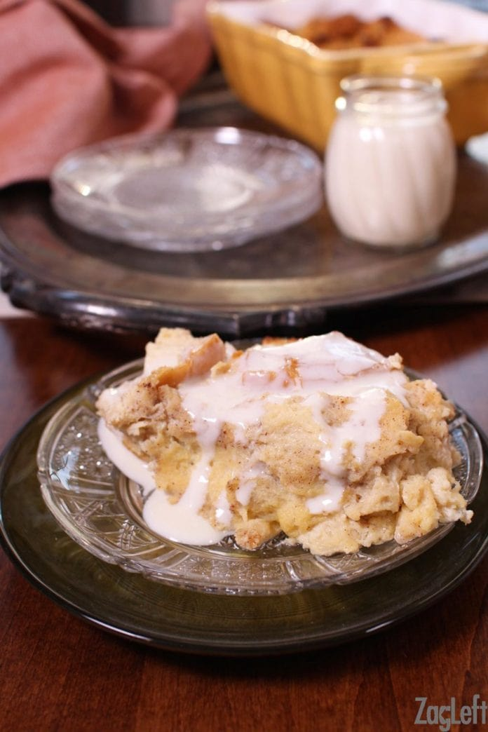 Photo of Easy to make bread pudding recipe made with bread, milk, eggs, sugar, and spices…